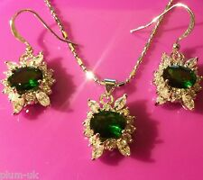 SET White gold filled necklace earrings, sim diamonds & emeralds BOXED Plum UK