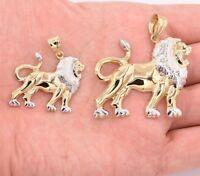 Walking Lion Body Charm Diamond Cut Pendant Real 10K Yellow White Two-Tone Gold
