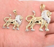 Walking Lion Body Charm Diamond Cut Pendant Real 10K Yellow White Two-Tone Gold