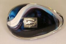 More details for vintage langham glass white blue swirl paperweight l:7.5cm *[20039]