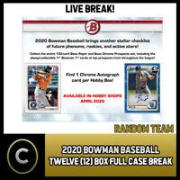 2020 BOWMAN HOBBY BASEBALL 12 BOX (FULL CASE) BREAK #A700 -  RANDOM TEAMS