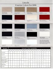 1998 LINCOLN COLOR Chip CHART Paint Brochure:CONTINENTAL,TOWN CAR,NAVIGATOR,MK 8
