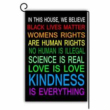 "Garden Flag Double Sided 12""x18"" House We Believe Black Lives Science Human BLM"