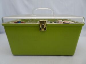 Vtg Wil-hold Wilson Green Sewing Chest Storage Box Clear Lid 2 Trays & CONTENTS