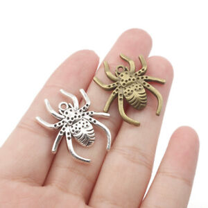 8X Vintage Spider Charms Pendant Diy Necklace Jewelry Making Hallowee Gifts
