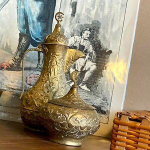 Antique Ottoman Bosnian copper coffee pot set , tombak