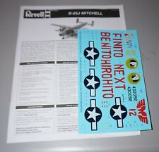 B-25J Mitchell Revell 1/48 Instructions & Decals.