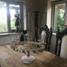 Large Aged Metal Multi Candle holder Table Centre Piece Or Hanging Chandelier