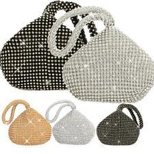 Evening Soft Body Zip Crystal Diamante Pouch Wristlet Clutch Handbag Purse Bags