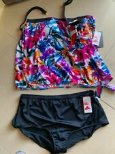 NEW NWT maxine of hollywood BANDEAU BLOSSON REM STRAP TIE SIDE TANKINI SET 24W