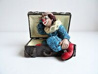 Gilde Clown im Koffer (ohne Originalverpackung) Vitrinenstück ca. 11x9cm Vintage