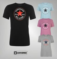 Ladies Branded Converse Stretch Cotton Crew Neck Chest Logo T Shirt Size 8-16