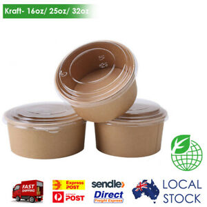 Brown Kraft Salad Bowl With Clear Lid Disposable Takeout Food Containers 50 Sets