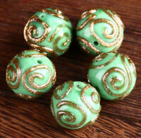 10pcs handmade Lampwork glass round Beads green 14mm