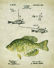 Fishing Lure Patent Poster Art Print Antique Crappie Bass Reels Fish PAT153