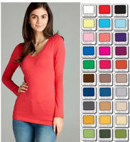 Womens Plus Size V Neck T Shirt Layering Long Sleeve Active Basic XL/1X/2X/3X