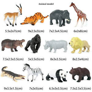 12X Wildlife Animals Tiger Lion Elephant Crocodile Model Figure Kids LearningToy