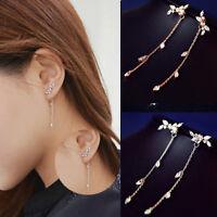 Fashion Women Tassel Leaves Crystal Ear Stud Dangle Drop Earrings Jewelry Gift