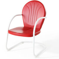 Crosley CO1001A-RE Sturdy Steel Construction Griffith Metal Chair - Red