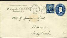 426221) USA GSK mit ZF 1900 in die Schweiz, Flaggenstempel Paterson