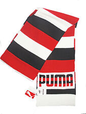 New Puma in knit unisex acrylic red white black striped graphic winter scarf