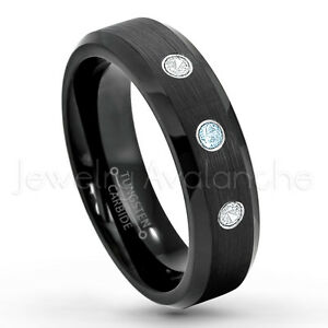 0.21ctw Topaz & Diamond 3-Stone Ring,November Birthstone Ring,Tungsten Ring #168
