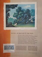 1950 Debeers Sylvan Honeymoon Painted By Jean Hugo Original Print Ad