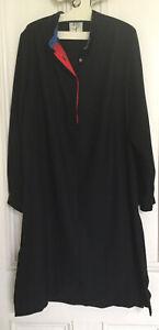 Vintage PRUE ACTON Black Wool Crepe, Long Sleeve Shirt Dress Tunic SIZE 10-12
