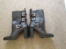 ZARA LEATHER BIKER BOOTS - SIZE 5