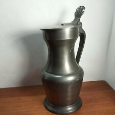 Antique Collectible Pewter Tankard Mug Beer Stein Hinged Lid marked nice
