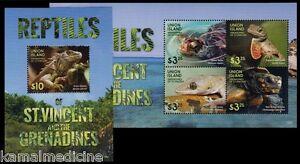 Union Island Gr St Vincent 2015 MNH SS+MS, Reptiles, Lizards Green Iguana