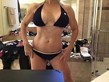 Lucky brand navy  blue bikini sz D cup top L bottoms no padding Great condiiton