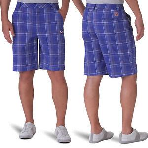 Puma Golf Plaid Tech Bermuda Golf Shorts - RRP£60 - Surf The Web Blue