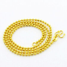 Chain Men Women Necklace 18inch Gjp091 24K Gold Plated 2Mm Smooth Buddha Beads
