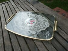 LOVELY ORNATE VINTAGE BRASS & GLASS DRESSING TABLE TRAY.
