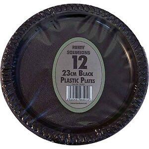 "60 x BLACK PLASTIC PLATES ROUND 23cm 9"" PARTY SUPPLIES TABLEWARE DISPOSABLE"