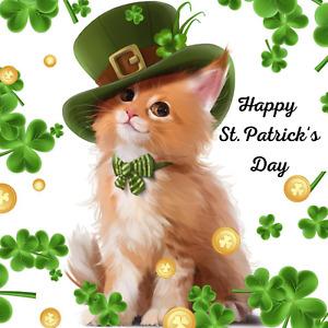 Happy St Patrick's Day Kitty Sign or Door Hanger