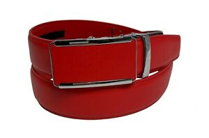 Men's Leather Ratchet Track  Belt with Matching Buckle / Steel Frame