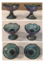 VINTAGE Indiana Iridescent Blue Carnival Glass HARVEST Candle Stick Holders