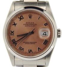 Rolex Datejust Mens Stainless Steel Oyster Band Salmon Roman Dial Watch 16200