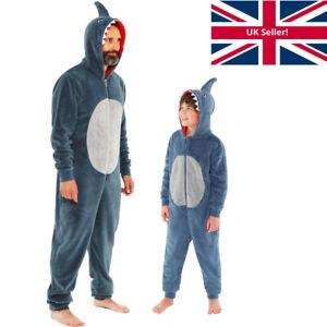 Shark 1Onesie Onesey Boys Mens Twinning Dad Son Fleece Hooded Jumpsuit Grey