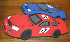 Kids Boys Room Wall Decor Straight Pin Board Cars Racing Blue Red & Black White