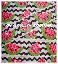 7/8 GLITTER CHEVRON WATERMELON RED PINK LIME SEEDS GROSGRAIN RIBBON 4 HAIRBOW