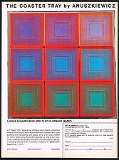 1970s Original Vintage Richard Anuszkiewicz Coaster Tray Art Print AD