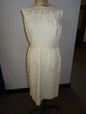 1960's White Cotton Kramer Sleeveless Dress Embroidered with Silver, Rhinestones