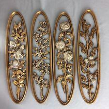 "Set of 4 Vintage Burwood Wall Decor Hanging Plaques Floral Gold Oval 22"" x 5.5"""