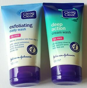 NEW Clean & Clear Exfoliating Daily wash and Deep Action Cream Wash Oil-Free Set