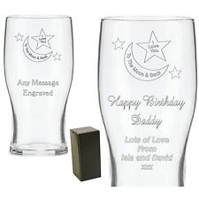 Personalised Engraved Pint Glass Daddy Grandad Birthday Christmas Mummy Gifts