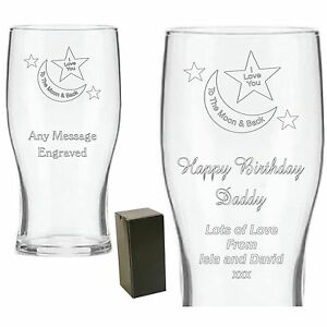 Personalised Engraved Pint Glass Daddy Grandad Birthday Father's Day Mummy Gifts