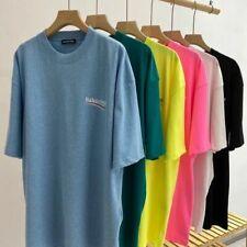 Loose 100% Cotton Men's Short Sleeve Slogan T-shirts Summer Ladies Tee Tops UK